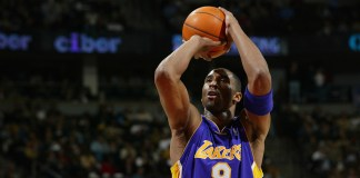 Feb 12, 2003; Denver, CO, USA; Los Angeles Lakers guard Kobe Bryant (8) shoots a free thrown against the Denver Nuggets at the Pepsi Center. Mandatory Credit: Icon Sports Media