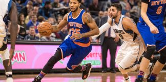 Nov 30, 2016; Minneapolis, MN, USA; New York Knicks guard Derrick Rose (25) dribbles past Minnesota Timberwolves guard Ricky Rubio (9) during the first quarter at Target Center. Mandatory Credit: Brace Hemmelgarn-USA TODAY Sports