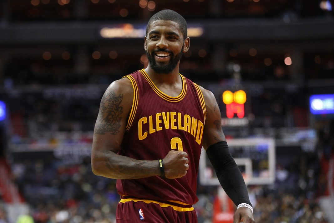 Nov 11, 2016; Washington, DC, USA; Cleveland Cavaliers guard Kyrie Irving (2) gestures on the court against the Washington Wizards at Verizon Center. Mandatory Credit: Geoff Burke-USA TODAY Sports