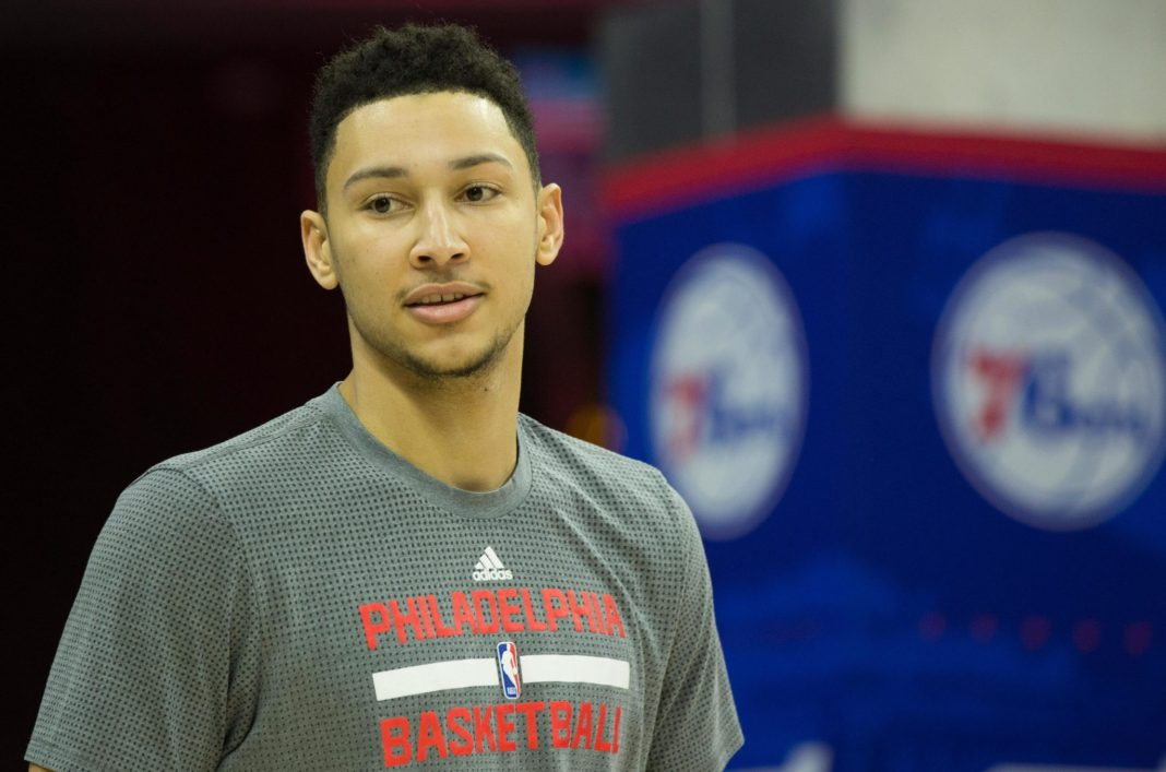 Jan 11, 2017; Philadelphia, PA, USA; Philadelphia 76ers forward Ben Simmons practices prior to a game against the New York Knicks at Wells Fargo Center. Mandatory Credit: Bill Streicher-USA TODAY Sports