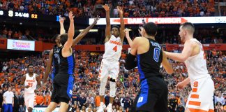 Feb 22, 2017; Syracuse, NY, USA; Syracuse Orange guard John Gillon (4) takes the game winning shot in the final moments of the game against the Duke Blue Devils at the Carrier Dome. The Orange won 78-75. Mandatory Credit: Rich Barnes-USA TODAY Sports