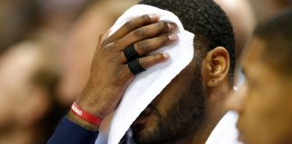 Mar 18, 2017; Charlotte, NC, USA; Washington Wizards guard John Wall (2) wipes his face with a towel in the first half against the Charlotte Hornets at Spectrum Center. Mandatory Credit: Jeremy Brevard-USA TODAY Sports