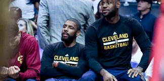 Mar 18, 2017; Los Angeles, CA, USA: Cleveland Cavaliers guard Kyrie Irving (2) and Cavaliers forward LeBron James (23) on the bench during the first half of a NBA game against the LA Clippers at the Staples Center. Mandatory Credit: Kirby Lee-USA TODAY Sports