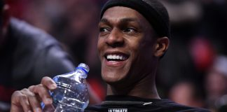 Apr 12, 2017; Chicago, IL, USA; Chicago Bulls guard Rajon Rondo (9) reacts during the second half against the Brooklyn Nets at the United Center. Chicago defeats Brooklyn 112-73. Mandatory Credit: Mike DiNovo-USA TODAY Sports