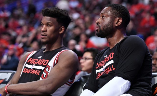Apr 12, 2017; Chicago, IL, USA; Chicago Bulls guard Dwyane Wade (3) and forward Jimmy Butler (21) rest during the second half against the Brooklyn Nets at the United Center. Chicago defeats Brooklyn 112-73. Mandatory Credit: Mike DiNovo-USA TODAY Sports