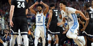 Apr 3, 2017; Phoenix, AZ, USA; North Carolina Tar Heels guard Joel Berry II (2) and North Carolina Tar Heels forward Justin Jackson (44) celebrates after beating the Gonzaga Bulldogs in the championship game of the 2017 NCAA Men's Final Four at University of Phoenix Stadium. Mandatory Credit: Robert Deutsch-USA TODAY Sports