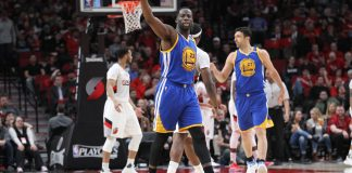 Apr 24, 2017; Portland, OR, USA; Golden State Warriors forward Draymond Green (23) points to Portland Trail Blazers fans after making a basket over Portland in game four of the first round of the 2017 NBA Playoffs at Moda Center. Mandatory Credit: Jaime Valdez-USA TODAY Sports