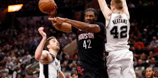 May 1, 2017; San Antonio, TX, USA; Houston Rockets center Nene Hilario (42) looks to pass the ball as San Antonio Spurs small forward Davis Bertans (42) and Pau Gasol (16) defend during the first half in game one of the second round of the 2017 NBA Playoffs at AT&T Center. Mandatory Credit: Soobum Im-USA TODAY Sports