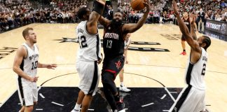 May 1, 2017; San Antonio, TX, USA; Houston Rockets shooting guard James Harden (13) shoots the ball as San Antonio Spurs power forward LaMarcus Aldridge (12) defends during the first half in game one of the second round of the 2017 NBA Playoffs at AT&T Center. Mandatory Credit: Soobum Im-USA TODAY Sports