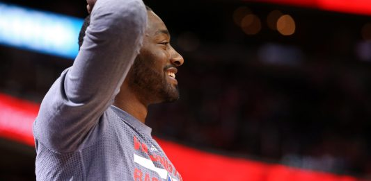 May 4, 2017; Washington, DC, USA; Washington Wizards guard John Wall (2) smiles on the bench against the Boston Celtics in the fourth quarter in game three of the second round of the 2017 NBA Playoffs at Verizon Center. The Wizards won 116-89. Mandatory Credit: Geoff Burke-USA TODAY Sports