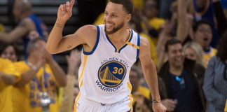 May 4, 2017; Oakland, CA, USA; Golden State Warriors guard Stephen Curry (30) celebrates against the Utah Jazz during the fourth quarter in game two of the second round of the 2017 NBA Playoffs at Oracle Arena. The Warriors defeated the Jazz 115-104. Mandatory Credit: Kyle Terada-USA TODAY Sports