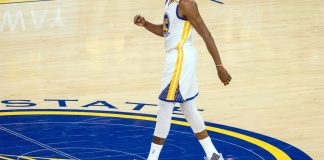May 16, 2017; Oakland, CA, USA; Golden State Warriors forward Kevin Durant (35) celebrates after a play against the San Antonio Spurs during the second quarter in game two of the Western conference finals of the NBA Playoffs at Oracle Arena. Mandatory Credit: Kelley L Cox-USA TODAY Sports