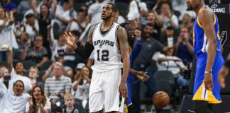 May 20, 2017; San Antonio, TX, USA; San Antonio Spurs forward LaMarcus Aldridge (12) reacts after scoring during the third quarter against the Golden State Warriors in game three of the Western conference finals of the NBA Playoffs at AT&T Center. Mandatory Credit: Troy Taormina-USA TODAY Sports