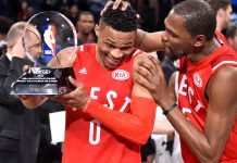 Feb 14, 2016; Toronto, Ontario, CAN; Western Conference guard Russell Westbrook of the Oklahoma City Thunder (0) celebrates with teammate Kevin Durant (right) after being named MVP of the NBA All Star Game at Air Canada Centre. Mandatory Credit: Bob Donnan-USA TODAY Sports