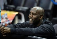 Mar 17, 2016; Oklahoma City, OK, USA; Former NBA player Gary Payton watches his son participate during a practice day before the first round of the NCAA men's college basketball tournament at Chesapeake Energy Arena. Mandatory Credit: Mark D. Smith-USA TODAY Sports