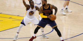 Jun 1, 2017; Oakland, CA, USA; Cleveland Cavaliers forward LeBron James (23) is defended by Golden State Warriors forward Draymond Green (23) in the fourth quarter of the NBA Finals at Oracle Arena. Mandatory Credit: Cary Edmondson-USA TODAY Sports