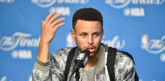 Jun 7, 2017; Cleveland, OH, USA; Golden State Warriors guard Stephen Curry (30) addresses the media in a press conference after game three of the 2017 NBA Finals against the Cleveland Cavaliers at Quicken Loans Arena. Mandatory Credit: David Richard-USA TODAY Sports