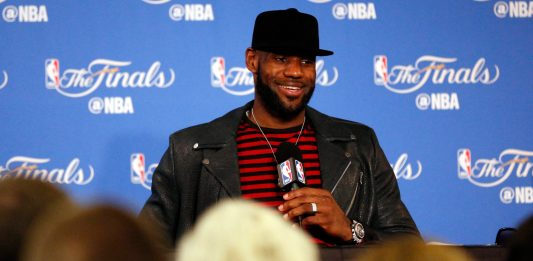 Jun 12, 2017; Oakland, CA, USA; Cleveland Cavaliers forward LeBron James at a press conference after game five of the 2017 NBA Finals against the Golden State Warriors at Oracle Arena. Mandatory Credit: Cary Edmondson-USA TODAY Sports
