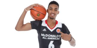 Mar 26, 2016; Chicago, IL, USA; McDonalds All American guard Terrance Ferguson (6) poses for photos on portrait day at the Marriott Hotel. Mandatory Credit: Brian Spurlock-USA TODAY Sports