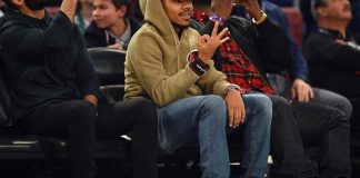 Feb 18, 2017; New Orleans, LA, USA; Recording artist Chance the Rapper watches the slam dunk contest during NBA All-Star Saturday Night at Smoothie King Center. Mandatory Credit: Bob Donnan-USA TODAY Sports