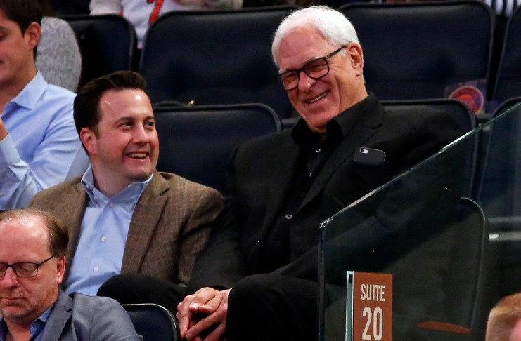Mar 27, 2017; New York, NY, USA; New York Knicks general manager Phil Jackson laughs during the second quarter against the Detroit Pistons at Madison Square Garden. Mandatory Credit: Adam Hunger-USA TODAY Sports