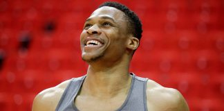 Apr 25, 2017; Houston, TX, USA; Oklahoma City Thunder guard Russell Westbrook (0) smiles as he warms up before playing against the Houston Rockets in game five of the first round of the 2017 NBA Playoffs at Toyota Center. Mandatory Credit: Thomas B. Shea-USA TODAY Sports