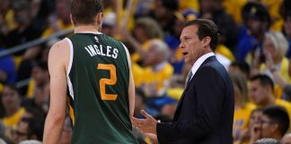 May 2, 2017; Oakland, CA, USA; Utah Jazz head coach Quin Snyder (right) instructs forward Joe Ingles (2) during the second quarter in game one of the second round of the 2017 NBA Playoffs against the Golden State Warriors at Oracle Arena. Mandatory Credit: Kyle Terada-USA TODAY Sports