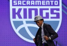 Jun 22, 2017; Brooklyn, NY, USA; De'Aaron Fox (Kentucky) is introduced as the number five overall pick to the Sacramento Kings in the first round of the 2017 NBA Draft at Barclays Center. Mandatory Credit: Brad Penner-USA TODAY Sports