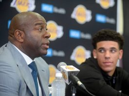 June 23, 2017; Los Angeles, CA, USA; Los Angeles Lakers president of basketball operations Magic Johnson introduces newly drafted player Lonzo Ball to media at Toyota Sports Center. Mandatory Credit: Gary A. Vasquez-USA TODAY Sports