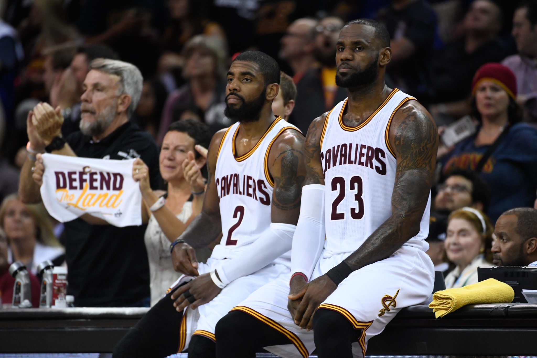 Cleveland OH USA Cleveland Cavaliers guard Kyrie Irving and forward Le Bron James during the second quarter in game four of the 2017 NBA Finals against the Golden State Warriors at Quicken Loans Arena. Mandatory Credit Kyle Terad