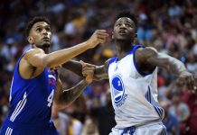 Jul 8, 2017; Las Vegas, NV, USA; Philadelphia 76ers forward Jonah Bolden (43) and Golden State Warriors forward Jordan Bell (2) battle for positioning during the first half at Thomas & Mack Arena. Mandatory Credit: Joe Camporeale-USA TODAY Sports