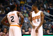 Dec 7, 2016; Phoenix, AZ, USA; Phoenix Suns guard Brandon Knight (11) and Eric Bledsoe (2) against the Indiana Pacers at Talking Stick Resort Arena. The Pacers defeated the Suns 109-94. Mandatory Credit: Mark J. Rebilas-USA TODAY Sports
