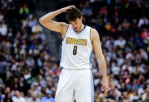 Apr 7, 2017; Denver, CO, USA; Denver Nuggets forward Danilo Gallinari (8) in the second quarter against the New Orleans Pelicans at the Pepsi Center. Mandatory Credit: Isaiah J. Downing-USA TODAY Sports