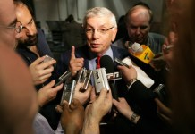 June 28, 2010; Los Angeles, CA, USA; David Stern talks to reporters during Game 3 of the NBA Finals between the Boston Celtics and Los Angeles Lakers at the STAPLES Center in Los Angeles, CA. The Los Angeles Lakers won 87-81. Mandatory Credit: Bob Leverone/Sporting News/ZUMA Press/Icon Sportswire