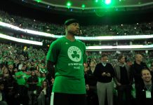 May 15, 2017; Boston, MA, USA; Boston Celtics guard Isaiah Thomas (4) looks on during player introductions prior to game seven of the second round of the 2017 NBA Playoffs against the Washington Wizards at TD Garden. Mandatory Credit: Bob DeChiara-USA TODAY Sports