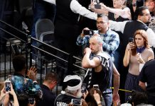 May 22, 2017; San Antonio, TX, USA; San Antonio Spurs shooting guard Manu Ginobili (20) leaves the court after game four of the Western conference finals of the NBA Playoffs at AT&T Center. Mandatory Credit: Soobum Im-USA TODAY Sports