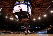 Feb 4, 2017; New York, NY, USA; Cleveland Cavaliers forward LeBron James (23) looks on during the second half against the New York Knicks at Madison Square Garden. Mandatory Credit: Adam Hunger-USA TODAY Sports
