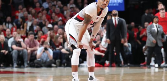 Apr 22, 2017; Portland, OR, USA; Portland Trail Blazers guard Damian Lillard (0) looks up at the scoreboard in the second half of game three of the first round of the 2017 NBA Playoffs Golden State Warriors at Moda Center. Mandatory Credit: Jaime Valdez-USA TODAY Sports