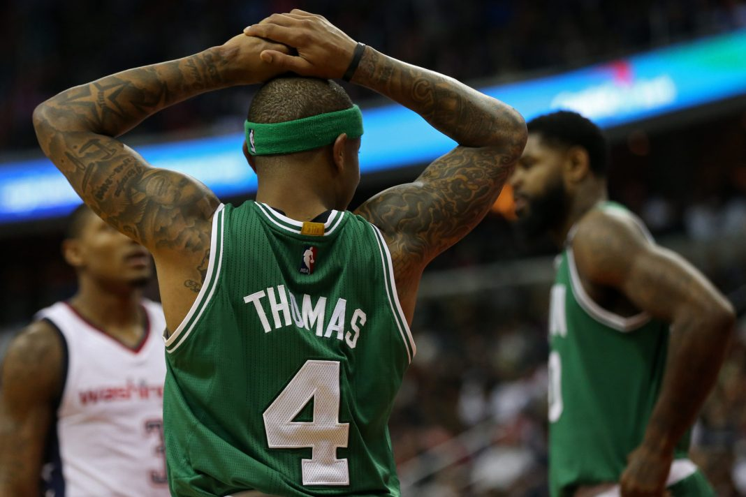 May 12, 2017; Washington, DC, USA; Boston Celtics guard Isaiah Thomas (4) reacts on the court against the Washington Wizards in the fourth quarter in game six of the second round of the 2017 NBA Playoffs at Verizon Center. The Wizards won 92-91, and tied the series at 3-3. Mandatory Credit: Geoff Burke-USA TODAY Sports
