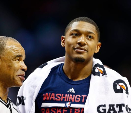 Mar 18, 2017; Charlotte, NC, USA; Washington Wizards guard Bradley Beal (3) talks with an official during a timeout in the first half against the Charlotte Hornets at Spectrum Center. Mandatory Credit: Jeremy Brevard-USA TODAY Sports
