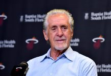 Sep 22, 2017; Miami, FL, USA; Miami Heat president Pat Riley address reporters during a press conference at AmericanAirlines Arena. Mandatory Credit: Steve Mitchell-USA TODAY Sports