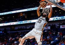 Oct 3, 2017; New Orleans, LA, USA; New Orleans Pelicans forward Anthony Davis (23) dunks against the Chicago Bulls during the second half at the Smoothie King Center. The Bulls defeated the Pelicans 113-109. Mandatory Credit: Derick E. Hingle-USA TODAY Sports