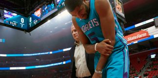 Oct 4, 2017; Detroit, MI, USA; Charlotte Hornets guard Nicolas Batum (5) reacts after he is injured in the first half against the Detroit Pistons at Little Caesars Arena. Mandatory Credit: Rick Osentoski-USA TODAY Sports