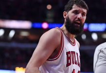 Dec 28, 2016; Chicago, IL, USA; Chicago Bulls forward Nikola Mirotic (44) reacts to a foul call against the Brooklyn Nets during the second half at the United Center. Mandatory Credit: Mike DiNovo-USA TODAY Sports