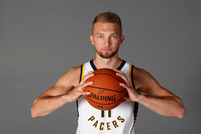 Sep 25, 2017; Indianapolis, IN, USA; Indiana Pacers forward Domantas Sabonis (11) poses for a photo on Media Day at St. Vincent Center. Mandatory Credit: Brian Spurlock-USA TODAY Sports