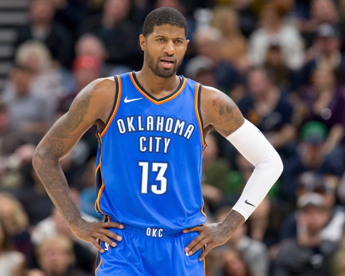 Oct 21, 2017; Salt Lake City, UT, USA; Oklahoma City Thunder forward Paul George (13) reacts to a call during the first half against the Utah Jazz at Vivint Smart Home Arena. Mandatory Credit: Russ Isabella-USA TODAY Sports