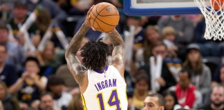 Oct 28, 2017; Salt Lake City, UT, USA; Los Angeles Lakers forward Brandon Ingram (14) shoots the ball during the second half against the Utah Jazz at Vivint Smart Home Arena. Mandatory Credit: Russ Isabella-USA TODAY Sports