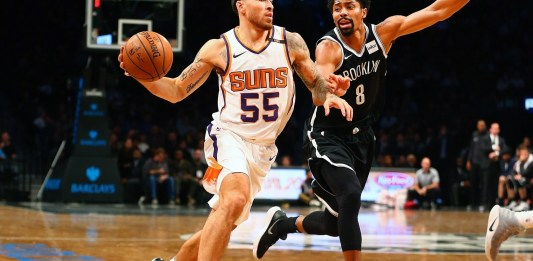 Oct 31, 2017; Brooklyn, NY, USA; Phoenix Suns guard Mike James (55) drives to the basket against Brooklyn Nets guard Spencer Dinwiddie (8) during the second half at Barclays Center. Mandatory Credit: Andy Marlin-USA TODAY Sports