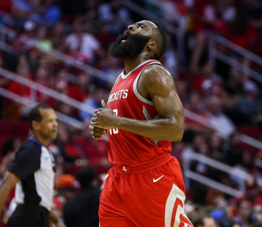 Nov 5, 2017; Houston, TX, USA; Houston Rockets guard James Harden (13) reacts after a play during the first half against the Utah Jazz at Toyota Center. Mandatory Credit: Troy Taormina-USA TODAY Sports