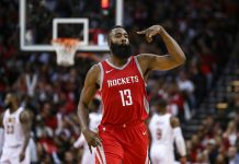 Nov 9, 2017; Houston, TX, USA; Houston Rockets guard James Harden (13) reacts after making a three point basket during the fourth quarter against the Cleveland Cavaliers at Toyota Center. Mandatory Credit: Troy Taormina-USA TODAY Sports